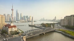 China, Shanghai, river skyline T/L - stock footage