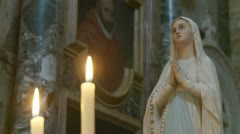 Virgin Mary & candles (5) Stock Footage