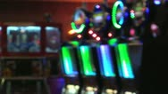 Stock Video Footage of Neon Slots Machines Soft Focus