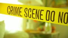 Police tape crime scene CSI police work Stock Footage