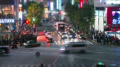 Shibuya street crossing tilt-shift & time-lapse. - stock footage