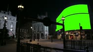 Stock Video Footage of Piccadilly Circus at night WS with green screens
