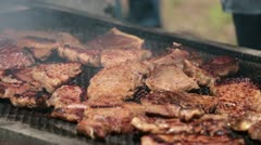Steak meat fry BBQ outdoor fun P HD 0335 Stock Footage