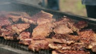 Stock Video Footage of Steak meat fry BBQ outdoor fun P HD 0335