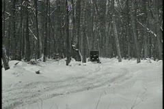 Model T on skis - stock footage