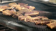 Steaks cooking outside BBQ P HD 0307 Stock Footage