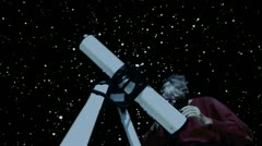 Man Looks Through Telescope Night Sky Stock Footage
