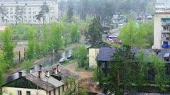Snow of summer, footage  taken in siberian city - stock footage