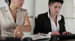 Manager with punk businesswoman working together in the office, steadycam Stock Footage