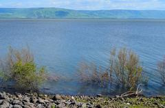 The shore of lake sea of galilee from the ruins of capernaum Stock Photos