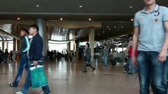 Passengers are at Domodedovo airport in Moscow on June 14, 2012. Stock Footage
