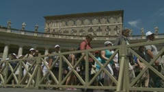 Pope's mass, Pilgrims leave St Peters (1) - stock footage