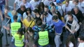 Euro 2012. Fan zone entrance. Security checks incoming people. Footage