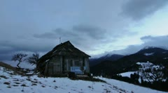 Time laps of rural house on sunrise in Carpathian mountains Stock Footage