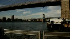 Hudson River Manhattan Bridge.clip.126 - stock footage