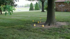 Crime scene with shotgun shell's flagged and numbered Stock Footage