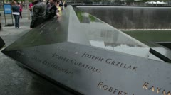 911 Memorial close up with people HD775 Stock Footage