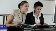 Portrait of two smiling businesswomen in the office, steadycam Stock Footage