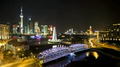 China, Shanghai, city night T/L - stock footage