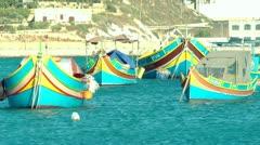 Marsaxlokk Fishing Village Stock Footage