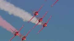 Red Arrows Aerobatic Display Team Formation - stock footage
