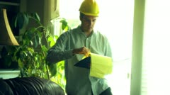 Construction engineer foreman construct paperwork legal permits Stock Footage