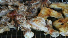 Chicken legs and wings on BBQ Stock Footage