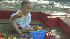 Child Playing in Sandbox with Sand Toys, Little Girl at Playground, Children Stock Footage