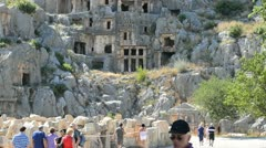 Petroglyphic tombs of the ancient state Lycia. Turkey. Stock Footage