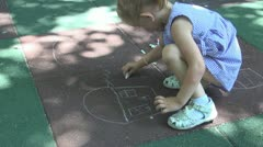 Child Drawing a House with Chalk on Asphalt, Little Girl Play in Park, Children Stock Footage