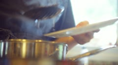 Kitchen serving serve food beans dinner Stock Footage
