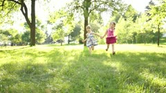 Children running to the camera - stock footage