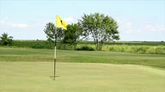 golf yellow flag number four - stock footage