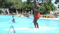 Pool, hotel, entertainments, summer.Turkey. Stock Footage