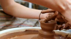 Clay potter hands wheel pottery work workshop teacher Stock Footage
