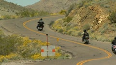 Motorcycles on Open Road - Route 66 Stock Footage