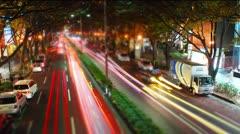 Omotesando tilt-shift & time-lapse shot with light streaks. Stock Footage