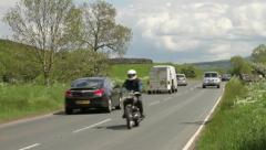 Traffic, motocyclist, wharfedale, yorkshire Stock Footage