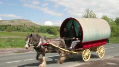 Gypsy caravan, wharfedale, yorkshire Stock Footage