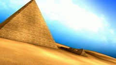 Egyptian pyramids animation, structure, ancient, old, aerial. - stock footage