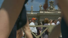 Pilgrims leave Pope's mass at St Peters (5) - stock footage