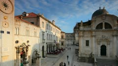 Dubrovnik panorama old city with tourists Stock Footage