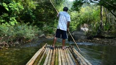 Bamboo rafting Stock Footage