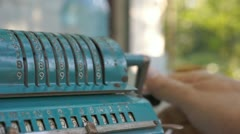 Vintage mechanical calculator Stock Footage