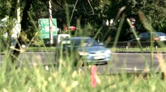High grass and high way focus Stock Footage
