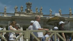 Pilgrims leave Pope's mass at St Peters (2) - stock footage