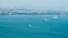 Aerial view to the Bosphorus strait in sunny day through the Tilt&shift lens Stock Footage