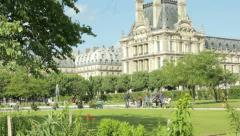 Paris Tuileries garden, near the Louvre Stock Footage