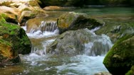 Small waterfall in forest Stock Footage