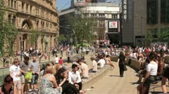 exchange square, manchester, england - stock footage